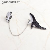 Qihe Jewelry Hot Fashion Astronauta y Ballenas Historieta Broches Pines Lapel Pins Badges Women N Wholesale Regalos para amigos
