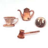 Новая чашка для значков прибора Handwashing Latte Spoon Retro Coffee Series Сплав Эмаль Броши Штыри Мини-штыри отворотом для мужских женщин Аксессуары