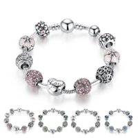 Hot sale women beaded bracelet shining charm crystal pendant...