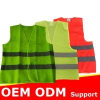 높은 시정 반사 안전 조끼 2 반사 스트립과 밝은 네온 색 빨간색 노란색 녹색 OEM ODM 지원 무료 배송 200pcs