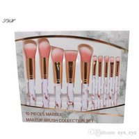 New 10pcs set Marble Makeup Brushes Sets Blush Powder Eyebro...