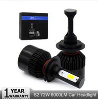 S2 H4 H7 H1 H1 H1 9005 9006 COB LED Ampoules de la voiture Ampoules Hi-Lo Beam 72W 8000LM 6500K Auto HeadLamp Boucle d'ampoule 12V