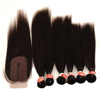 Straight Hair 6 Bundles with lace closure Human Hair Extensi...