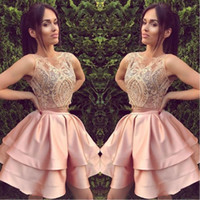 2018 Short Blush Pink Two Piece Homecoming Klänningar En Linje Ärmlös Backless Mini Cocktail Dress Prom Party Gowns Custom Lace
