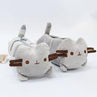 Jouet en peluche chat gris mignon le sac de crayon de chat Fournitures scolaires Animal pour enfants