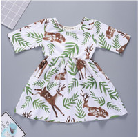 Baby Girl Fragrant Grass Spotted Deer Print Dress Baby Summe...