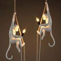 Modern creative design Resin Monkey Loft Vintage Hemp Rope P...