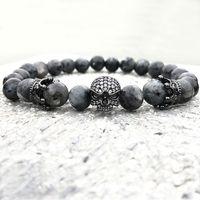 Männer Schädel Charme Armbänder Indien Labradorit 8mm Naturstein Licht Perlen Europäischen Buddha Armband Für Männer Handgemachte Armbänder
