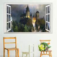 3d ventana wizarding world school pegatinas de pared para niños sala de estar decoración arte diy Hogwarts tatuajes de pared Harry Potter carteles
