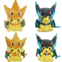 Pikachu Plush Doll Cosplay Toys With Charizard hat Kawaii Me...