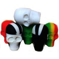 Crâne forme 15 ml non-bâton de silicone pots pots de cire Dab FDA qualité alimentaire silicone personnalisé petits pots de silicone dab récipient de cire