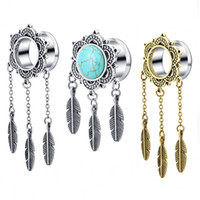 Túnel de orelha Prata Dreamcatcher Bonito Pena Pingente Dangle Ear Plug Túnel Calibre Jóia Do Corpo Piercing Brinco Kits