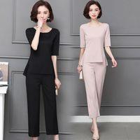 Mikialong 2018 koreanische Art und Weise Zweiteiler Top und Hose Frauen-Sommer-Büro-Klage Plus Size 2-teiliges Set Frauen Anzug M-5XL