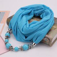 Mode Haute Qualité Nouvelle arrivée Femmes vintage foulards collier Perles Pendentif Écharpe Col Ras Du Cou Cadeaux De Noël