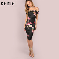 SHEIN Sexy Party Dresses Bodycon Off Shoulder Dress Black Ba...