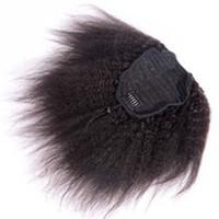 Trekkoord 100 Menselijk Haar Paardenstaart Extensions Grof Curly Afro Kinky Rechte Italiaanse Yaki Krullend Topsluiting Clip Ins Paardenstaart Menselijk Haar