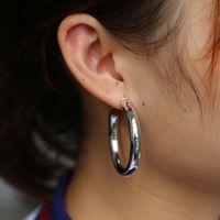 패션 힙 큰 서클 크리올 귀걸이 안티 알레르기 미니멀리스트 두꺼운 튜브 반원형 후프 귀걸이 여성 남성 바위 보석 645mm