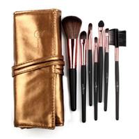 Ensemble de pinceaux de maquillage de haute qualité 7 en rose / marron / rose rouge / noir / sac en cuir doré élégant pinceaux de maquillage portables
