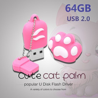 HOT SELL 4GB-128gb Cat Paw Shape USB 2.0 Flash Drive Novità Pendrive Memory Stick Archiviazione dati Cute Animal Thumb Drive U Disco regalo U25