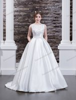 Charming White Satin Backless Applique Beads A- Line Wedding ...