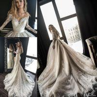 2019 luxus a line Brautkleider mit abnehmbarer Zug Arabisch Dubai Von der Schulter Lange Ärmeln Spitze Hochzeit Brautkleider BA9641