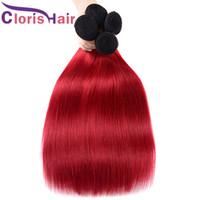 Yüksek Kalite Renkli 1B Kırmızı İnsan Saç Uzantıları Ipeksi Düz Malezya Bakire Ombre Örgüler Ucuz İki Ton Kırmızı Ombre Paketler Fiyatları 3 adet
