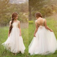 Fall 2018 Country Flower Girl Dresses Square Neck Shiny Sequ...