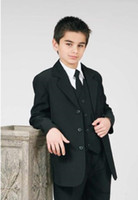 Formal Wear Ocasião Suits Wedding Party smoking Crianças New Custom Made Três botões pretos Notch lapela do menino (camisa + calça + Vest + empate) 624
