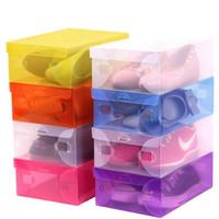 DIY plastik ayakkabı saklama kutuları çevre dostu kalınlaşmak dikdörtgen katlanabilir şeffaf plastik ayakkabı organizatörleri ayakkabı kutusu ...