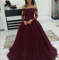 2018 Burgundy Prom Dresses Wear Boat Neck Off Shoulder Lace ...