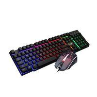 لوحة مفاتيح بصرية ومجموعة مفاتيح الماوس وأنوار قوس قزح لوحة مفاتيح الألعاب USB سلكية للإضاءة الخلفية لسطح المكتب Lapton 2 قطعة مجموعة