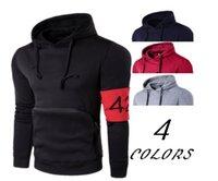 424 완장 패션 후드 티셔츠 남성용 포켓 솔리드 컬러 캐주얼 스웨터 후드 긴팔 Streetwear 스웨트 탑스