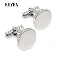 Men Metal Engrave Custom Stainless Steel Round Cufflinks Blanks Silver Personalized Plain Cuff links Button Gemelos
