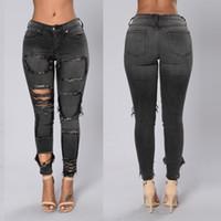 Nero Womens Skinny jeans strappati a vita bassa Vintage Moda Slim Fit Distressed Hole Denim Jeans S-2XL