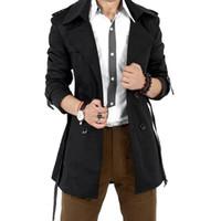 MISSKY осень мужчины тренч ветровка длинные сплошной цвет куртка с двубортный кнопки отворотом воротник пальто