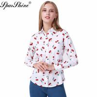 SPARSHINE 8 색 꽃 긴 소매 빈티지 블라우스 체리 턴 다운 칼라 셔츠 Blusas Feminino 여성용 블라우스 Womens Tops