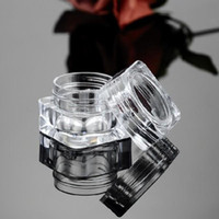 Vidalı kapak Makyaj için Kapaklar, Losyon, kremalar, Eyeshadow, Kozmetik Ürün Örnekleri ile 5ML 5G Temizle Kare Kavanozlar