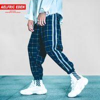Herrenhose Aelfric Hip Hop Plaid Stripe Patchwork Harem Casual Hose Männer 2021 Herbst Jogger Männliche Jogginghose Streetwear B042