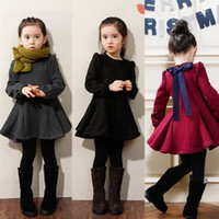 2016 Winter Girls Dress Thicken Girls Warm Velvet A Letter Dress Kids Cute Bow Dress