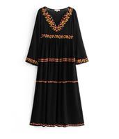 Yeni stil Avrupa ve Amerikan moda çiçekler işlemeli uzun kollu yüksek belli uzun kollu uzun kollu uzun elbise ücretsiz kargo