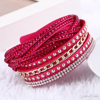 Women New Fashion Pu Leather Wrap Wristband Cuff Punk Rhines...