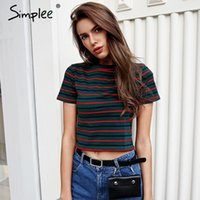 Simplee Caual stripe crop top women Short sleeve tops tees f...