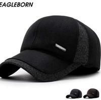 Los hombres de invierno Gorras de béisbol protección para los oídos gorra de casquette caliente engrosan gorras de lana sombrero de retazos para hombre de alta calidad