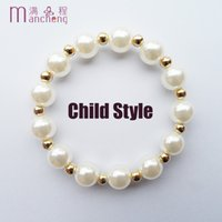 good quality gold color 8MM Pearl beads kids Children's brac...