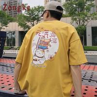 Zongke اليابانية المتناثرة تي شيرت الرجال القط المطبوعة الشارع الشهير فضفاض الرجال القميص الهيب هوب تي شيرت بلايز 2018 الصيف قمم