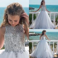Bling Bling Fleur Girls Robes 2019 Cristaux Strass Balayer Train Blanc Tulle Première Robe de communion pour petite fille Coldine