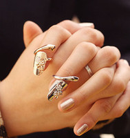 New Exquisite Cute Retro Queen Dragonfly Design Rhinestone Plum Snake Gold/Silver Ring Finger Nail Rings