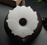 천연 아프간 펜던트 화이트 비취 로터스 조각 된 꽃이 풍부한 옥 펜던트 여성 스웨터 체인 펜던트