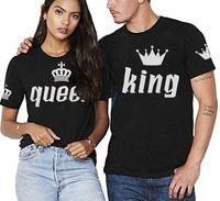 سويتي الملك الملكة زوجين مطابقة القمصان قصيرة الأكمام تي شيرت إلكتروني طباعة القطن تي شيرت زوجين الملابس (ملكة المرأة ، الملك هو الرجال)