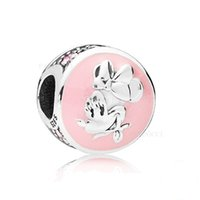 Authentic Disny Minie Charms S925 Silver Silver per bracciale stile originale Bubblegum Smalto rosa 797170IT96 H8